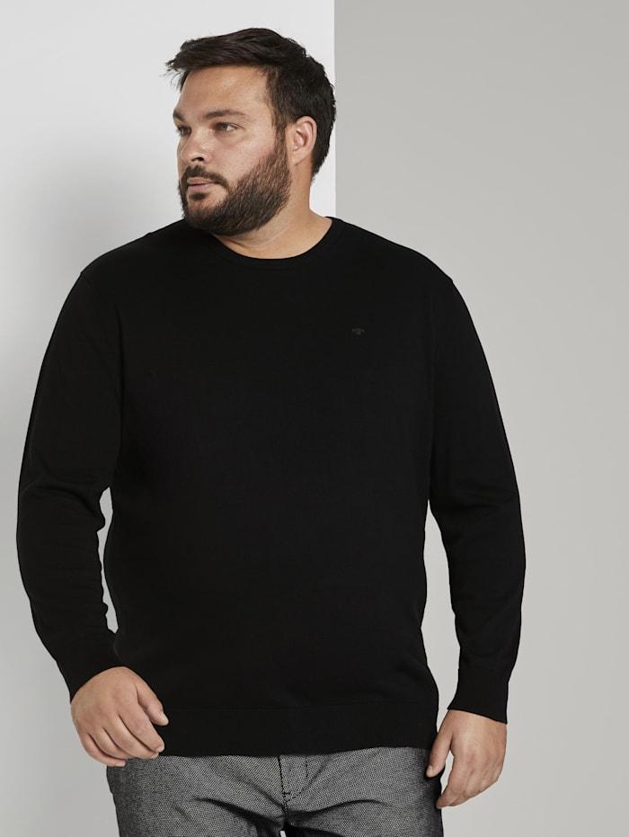 Tom Tailor Men Plus Basic Pullover mit Logo-Stickerei, Black