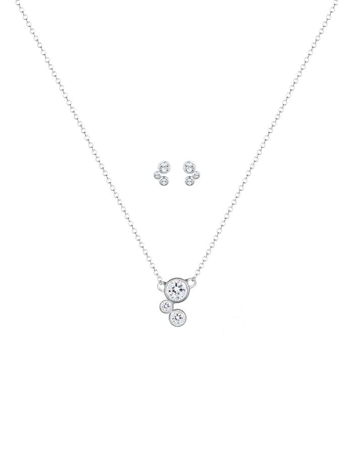 Schmuckset Klassisch Kristalle 925 Sterling Silber