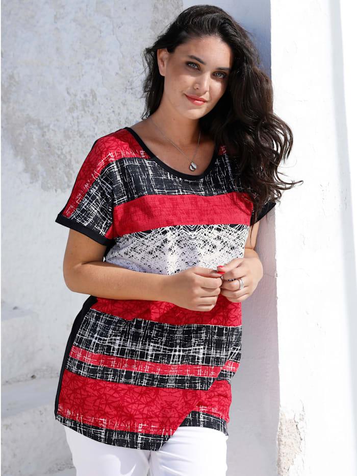 MIAMODA T-shirt à imprimé placé, Noir/Rouge/Blanc