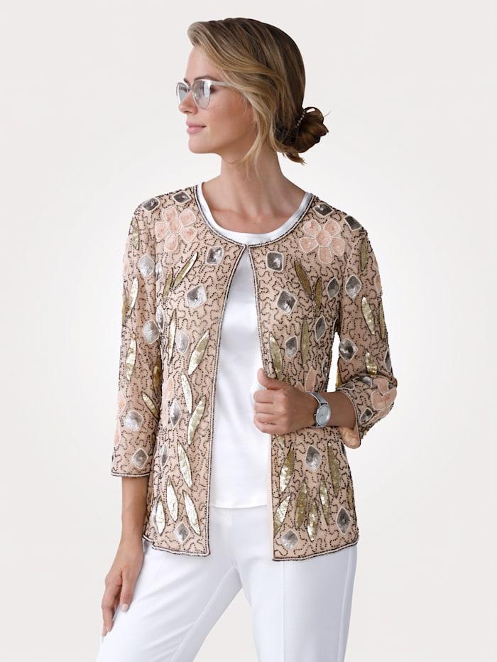 MONA Pailletten-Jacke mit Pailletten und Perlen, Rosé/Goldfarben
