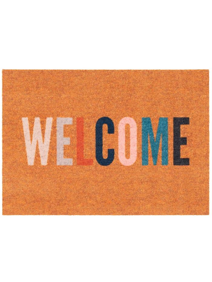 Pergamon In & Outdoor Fußmatte Power Home Welcome, Orange