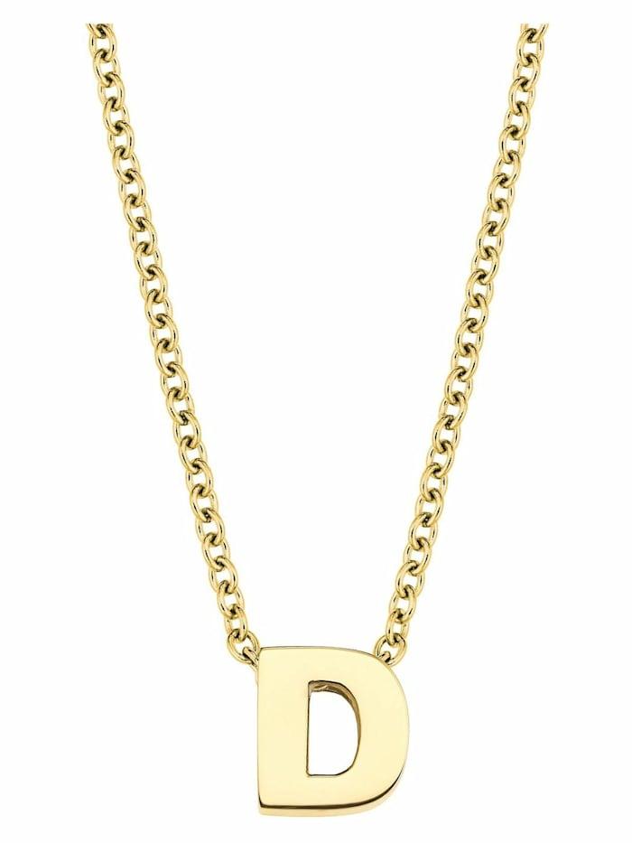 amor Kette mit Anhänger Unisex, Buchstabe D, Letter, Edelstahl gelbvergoldet, Silber