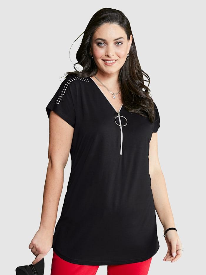 MIAMODA T-shirt avec glissière à l'encolure, Noir