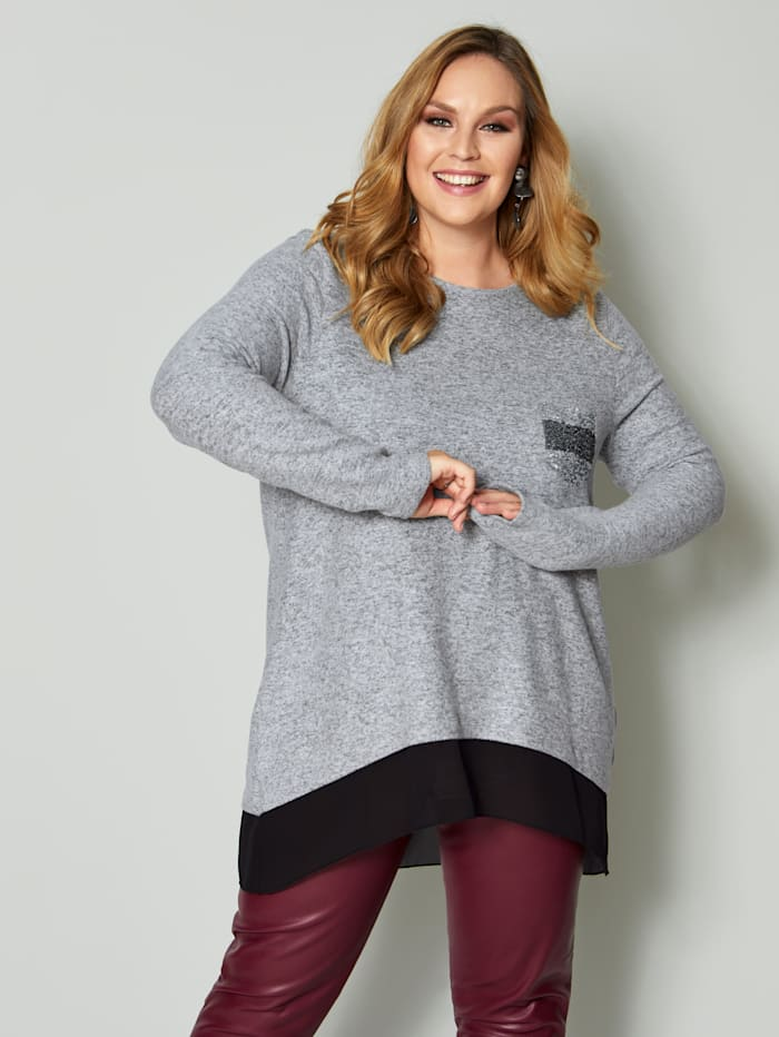 Sara Lindholm Shirt mit Pailletten, Grau/Schwarz