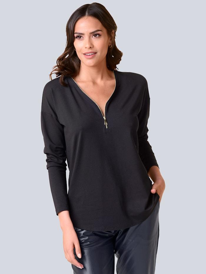 Alba Moda Shirt mit Reißverschluss am Ausschnitt, Marineblau