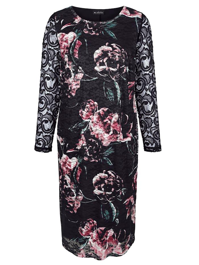 m. collection Jurk met mooie bloemenprint, Zwart/Roze