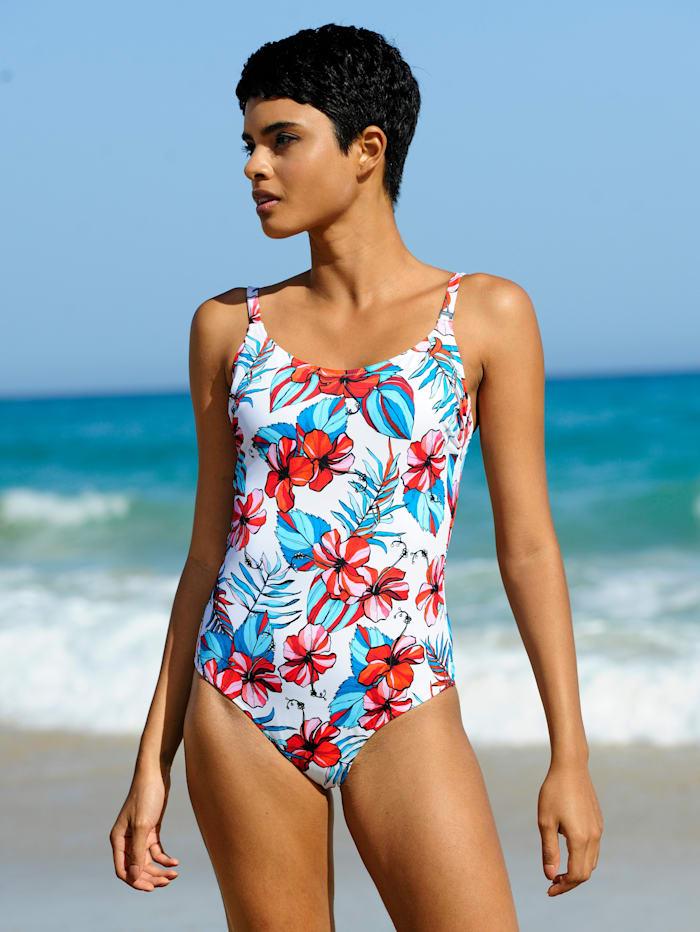 Rösch Badeanzug mit Blumendruck, Weiß
