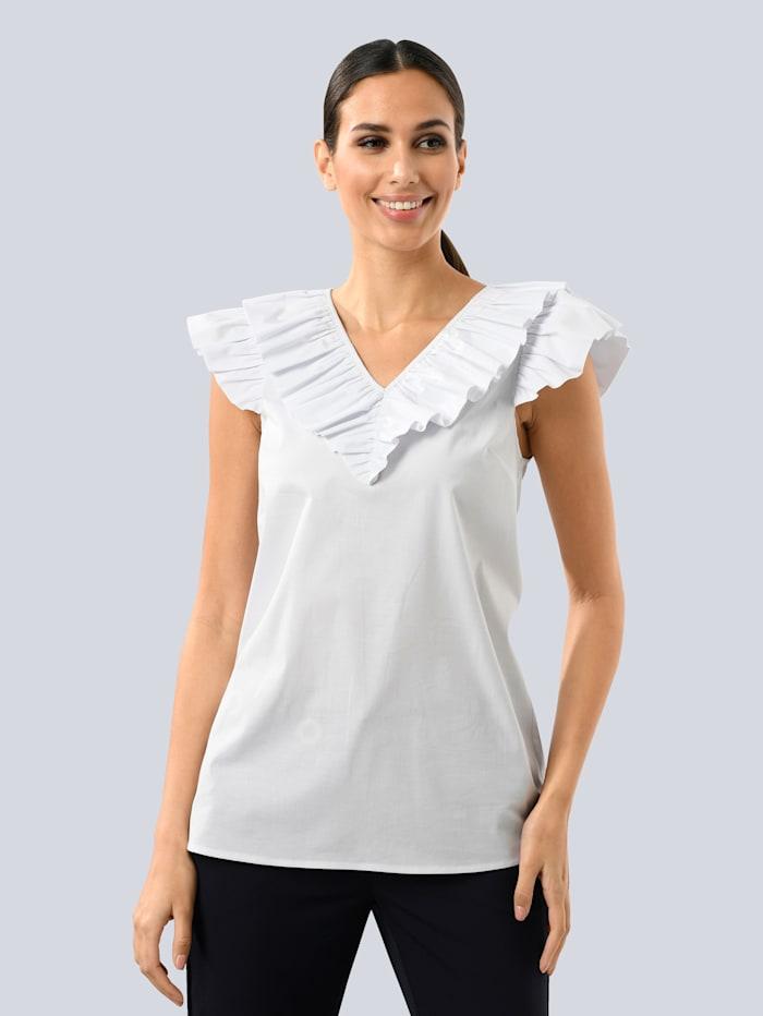 Alba Moda Bluse mit Volant, Weiß