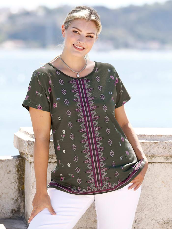 m. collection Shirt met print voor, Olijf/Roze