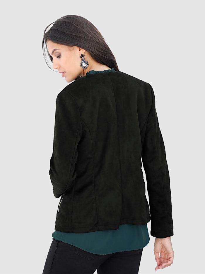 Lederimitat-Jacke mit Nietenbesatz