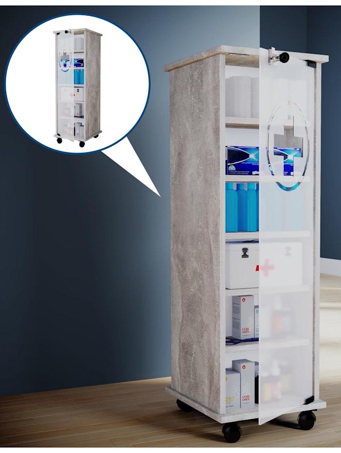 VCM Medizinschrank mit Rollen Nilasu abschließbar, Beton-Optik