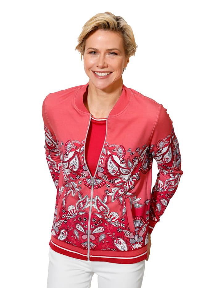 MONA Sweatvest met helder gekleurde paisleyprint, Koraal/Rood/Wit