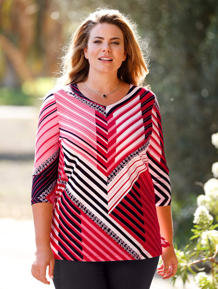 m. collection Shirt met geraffineerd streepdessin, Rood/Zwart/Wit