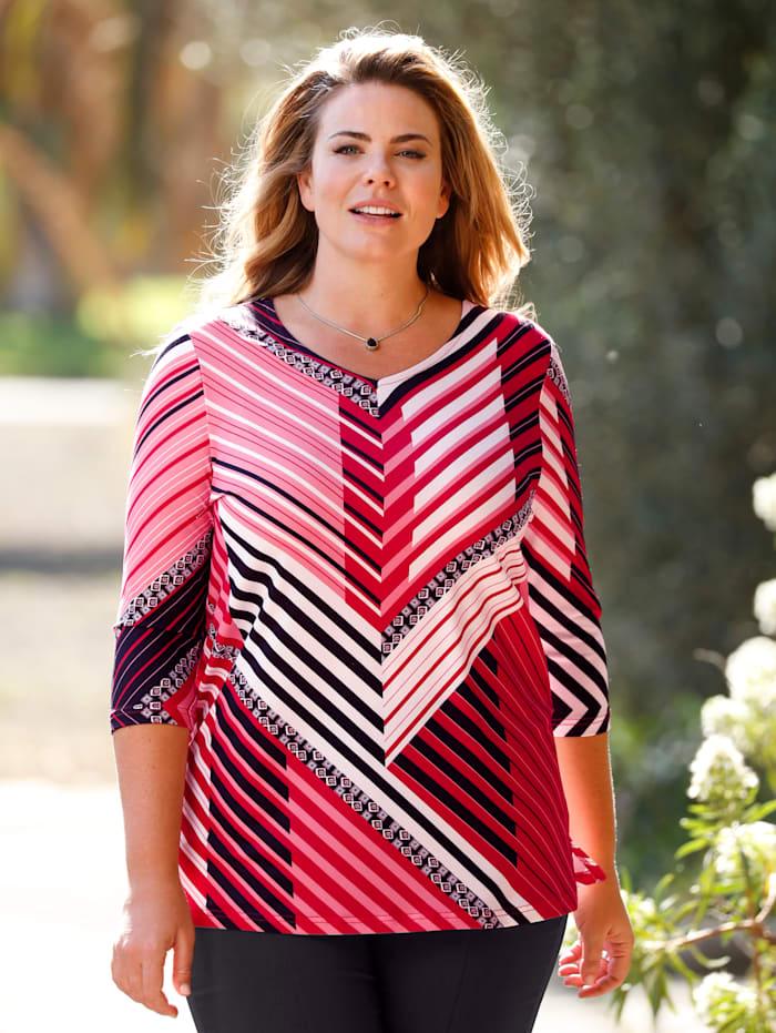 m. collection Shirt in raffinierter Streifen-Optik, Rot/Schwarz/Weiß