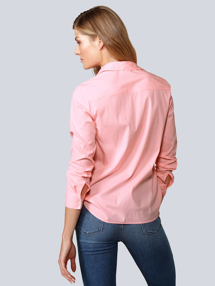 Bluse mit feinen Längsstreifen in Neonorange