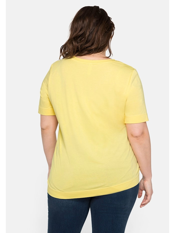 Sheego T-Shirt mit V-Ausschnitt und verlängertem Arm