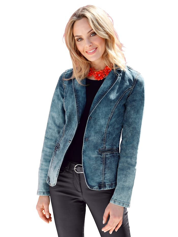 AMY VERMONT Jeansjacke in moderner Waschung, Blue bleached