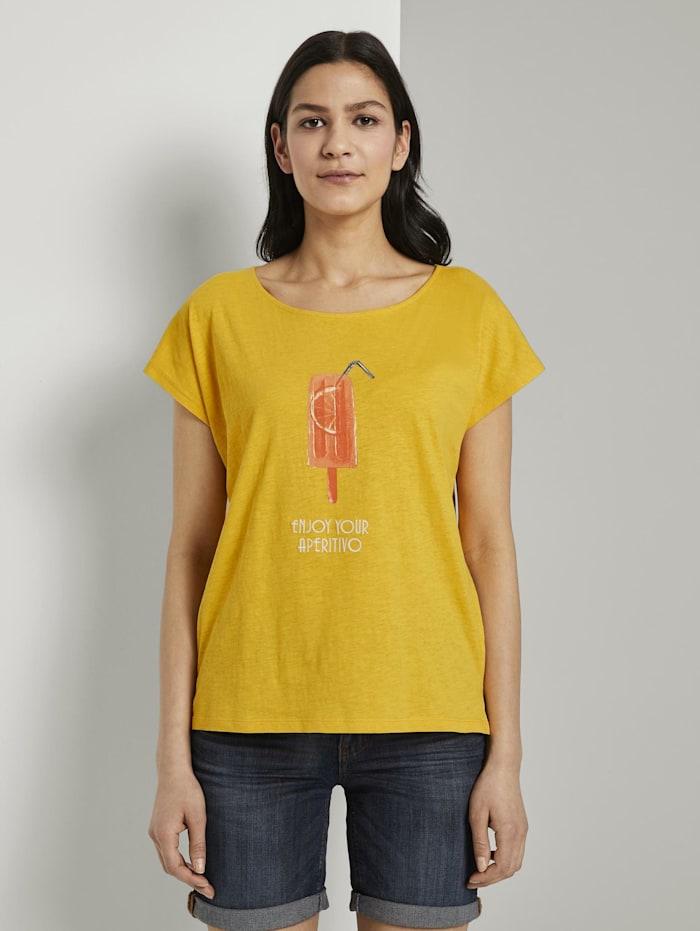 Tom Tailor Fein strukturiertes T-Shirt mit Print, deep golden yellow