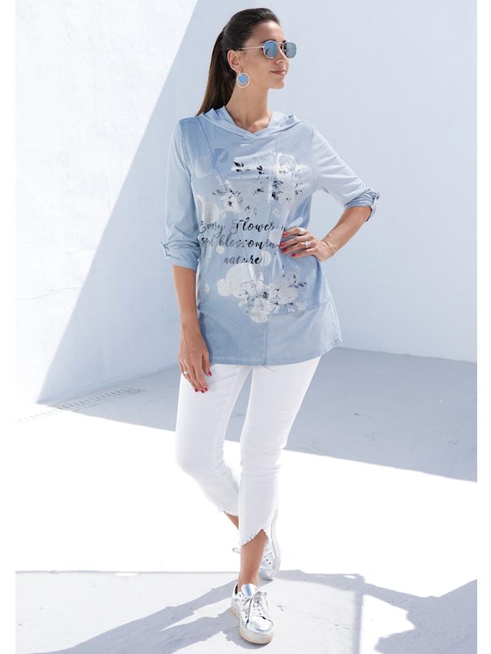 MIAMODA Shirt mit glänzendem Silberdruck, Hellblau
