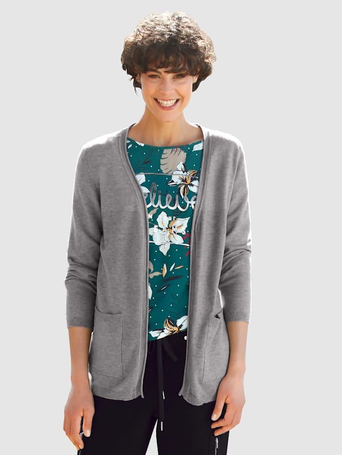 Dress In Cardigan in offener Form, Grau