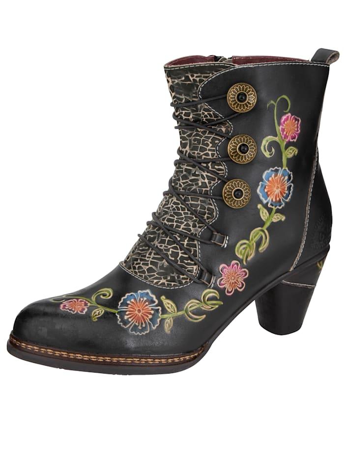 Laura Vita Stiefelette mit wunderschöner Blütenapplikation, Schwarz