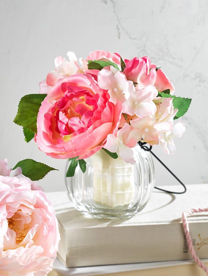 Rosenstrauß in Glasvase, Rosé
