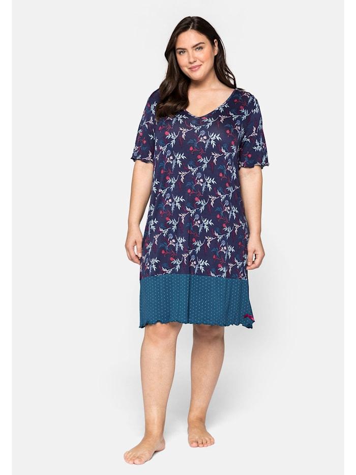 Sheego Nachthemd im Mustermix, mit V- Ausschnitt, marine bedruckt