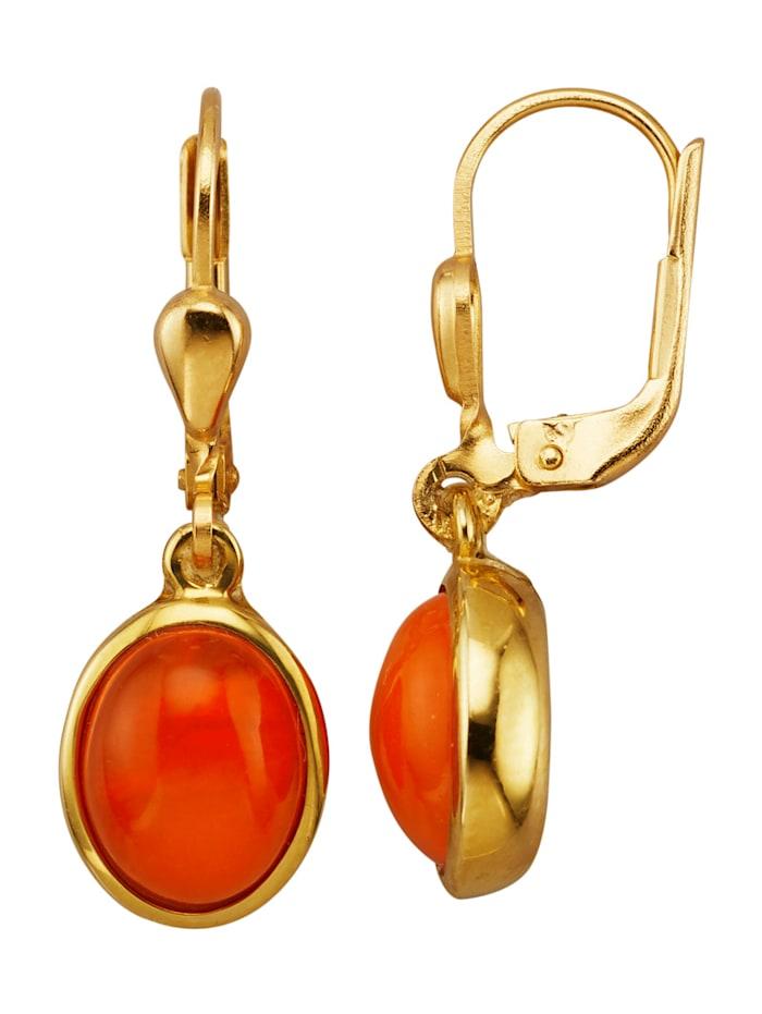 Diemer Farbstein Ohrringe mit Opalen, Orange