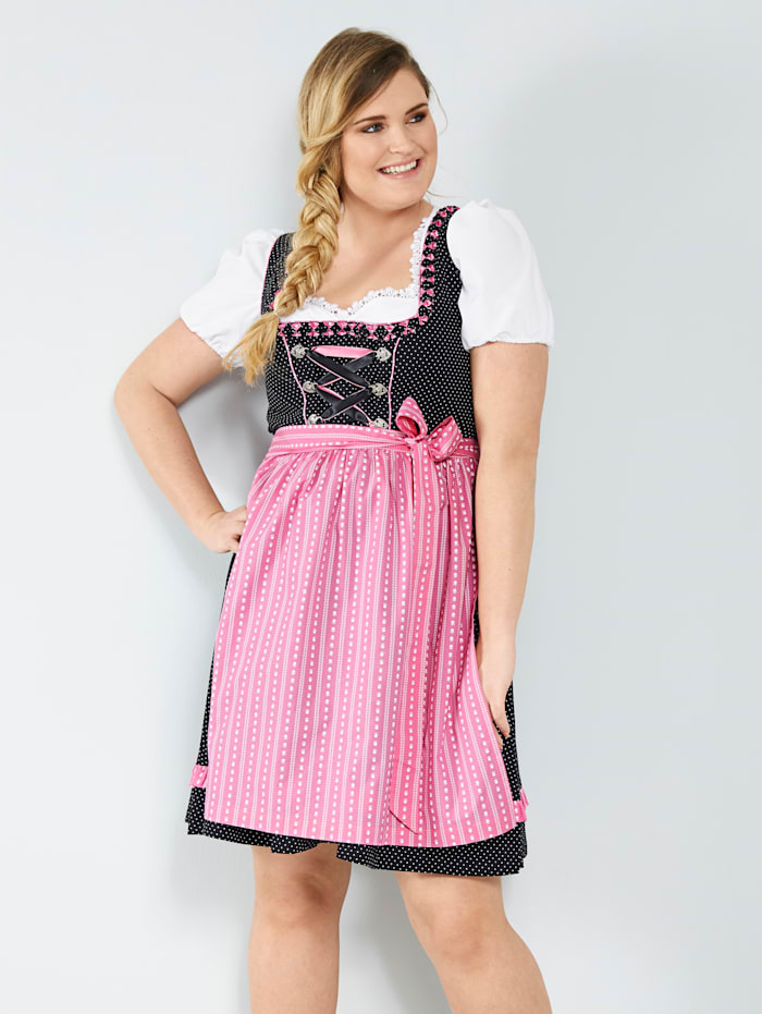 Sara Lindholm Dirndl met contrastkleurig schort, Zwart/Pink