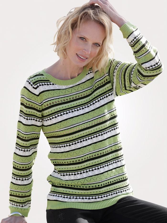 MONA Pullover mit Ajour-Strick, Hellgrün/Schwarz/Weiß
