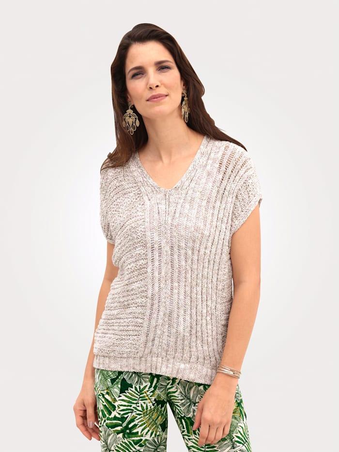 MONA Pullover aus effektvollem Melange-Garn, Natur