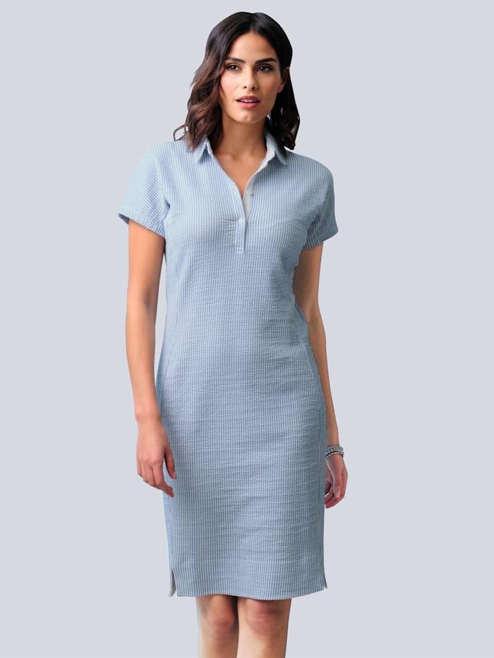 Alba Moda Jerseykleid in sportiver Seersucker-Qualität, Hellblau/Weiß