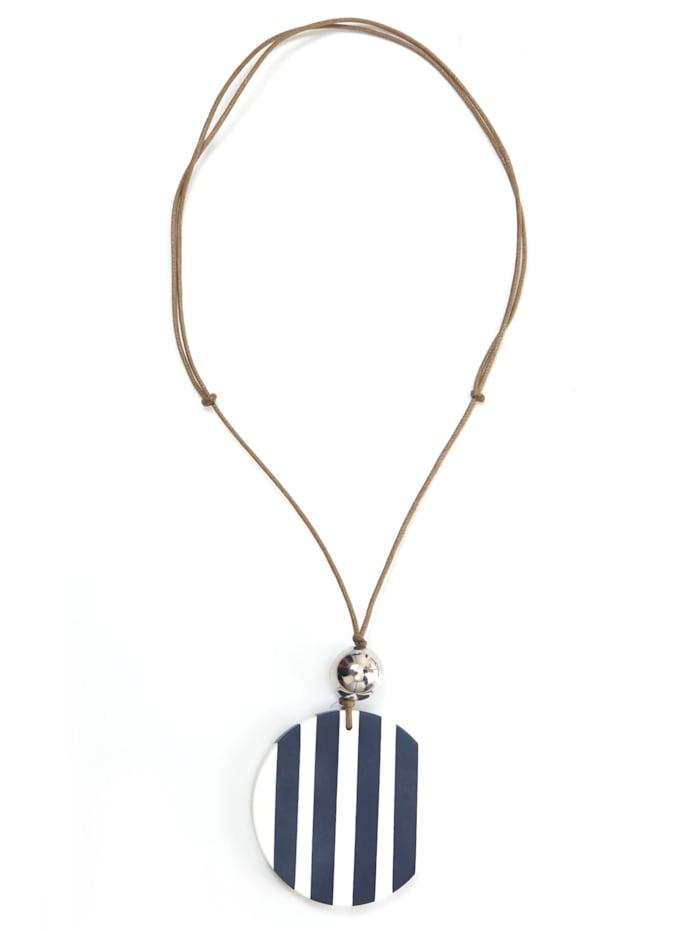 Collezione Alessandro Lange Kette Iris mit silbener Kunststoffperlen, marine-weiß