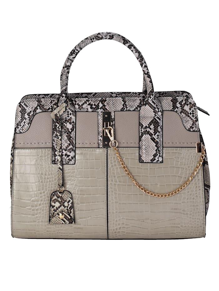 Emma & Kelly Handbag with embellishments, Taupe-Multi