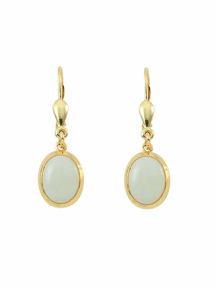 1001 Diamonds Damen Goldschmuck 585 Gold Ohrringe / Ohrhänger mit Opal, blau