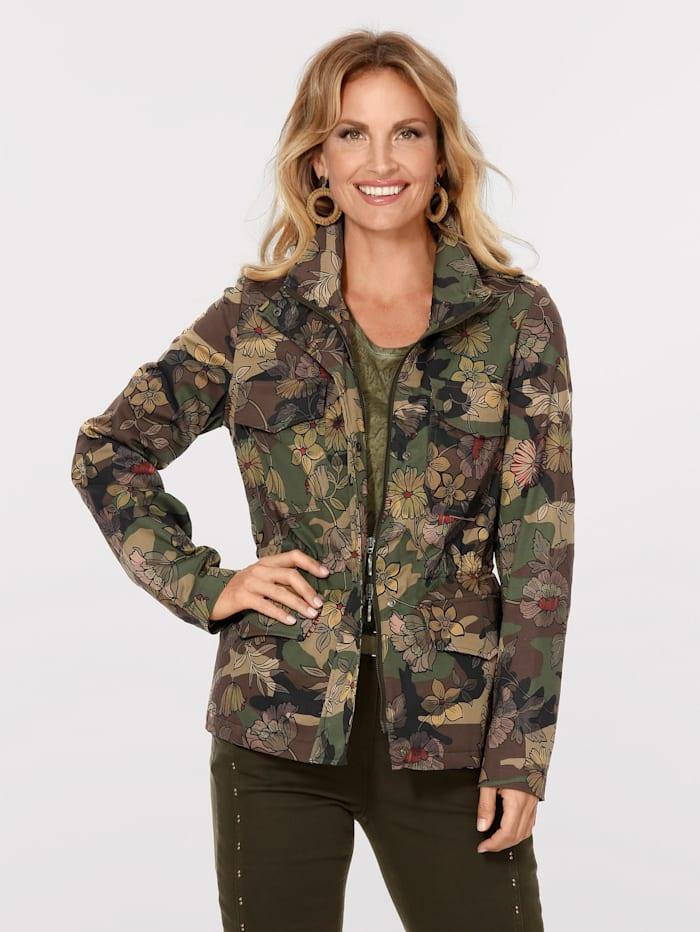 MONA Jas met trendy camouflagebloemenprint, Olijf/Kaki/Geel