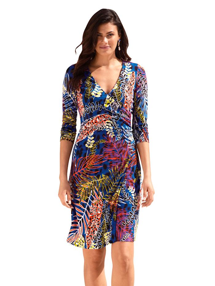 AMY VERMONT Kleid mit Blätter-Muster allover, Blau/Off-white/Rost
