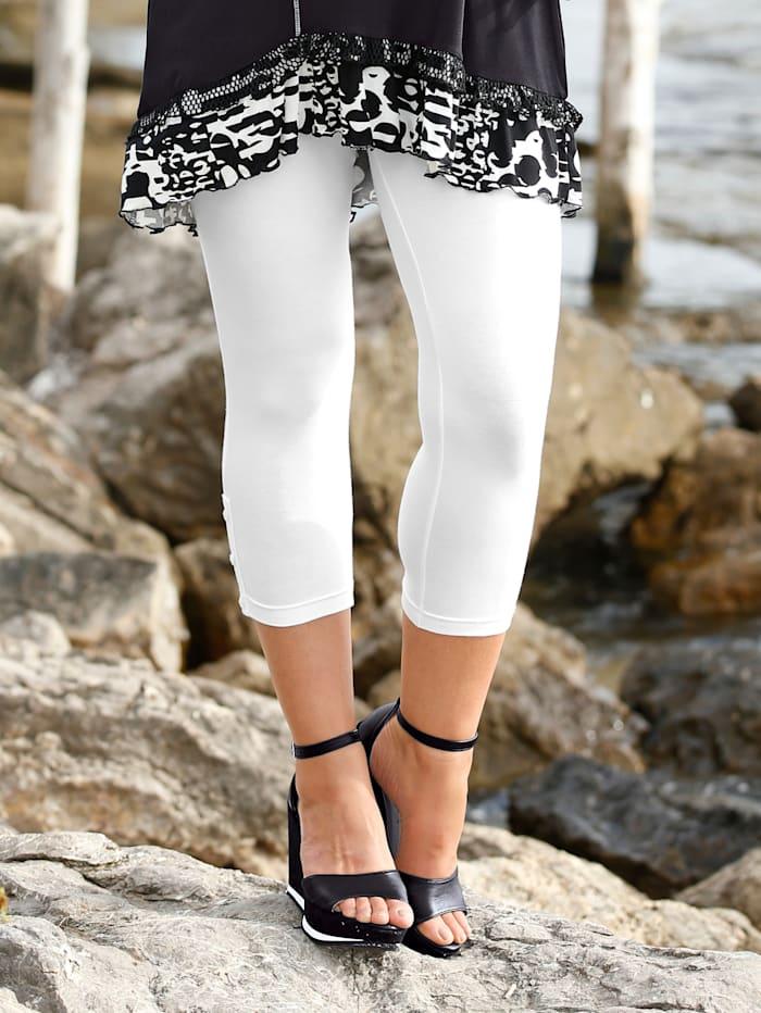 MIAMODA 7/8-Leggings mit dekorativer Knöpfchenverzierung am Beinsaum, Weiß