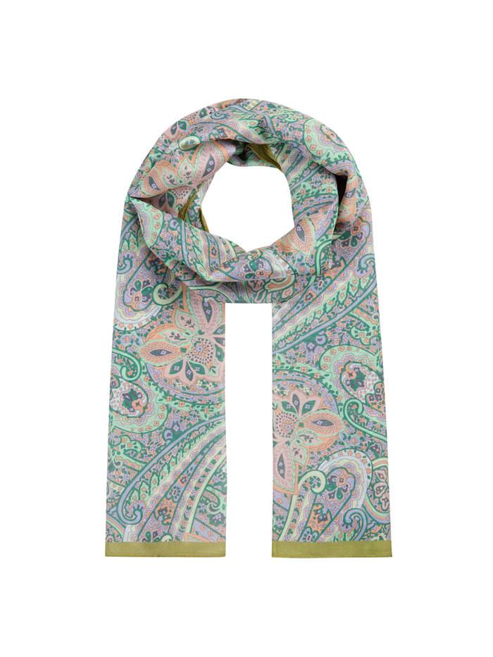 Codello Hauchfeiner Paisley-Schal aus Baumwolle und Seide, green