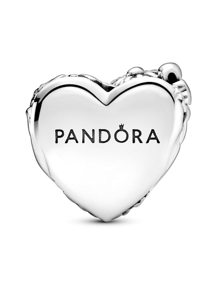 Pandora Charm -Blumen- und Bogenherz- 799146C00, Silberfarben