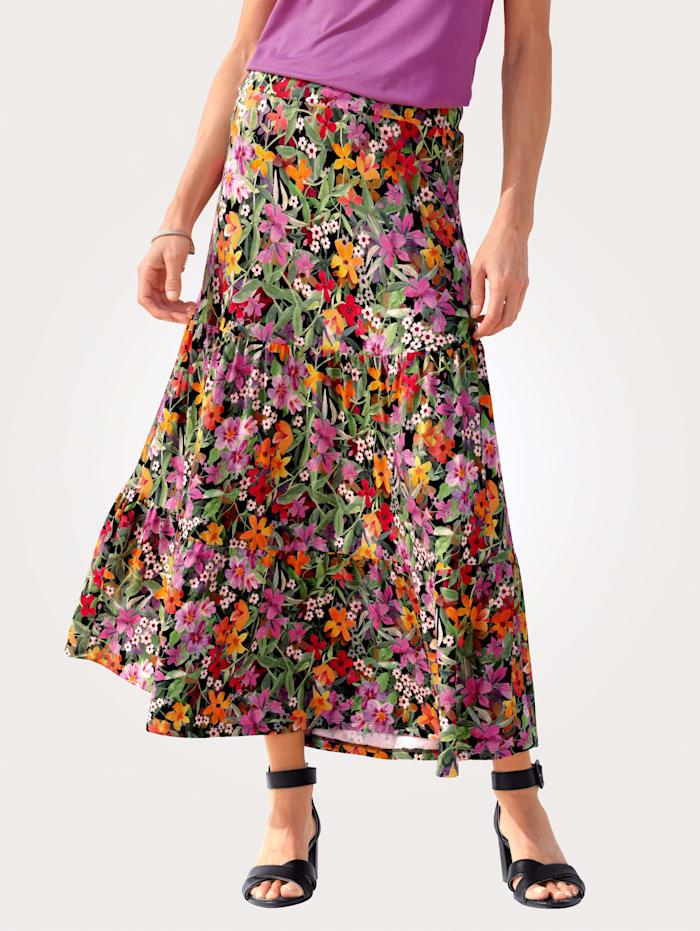 MONA Jerseykjol med blommönster, Orange/Fuchsia/Grön