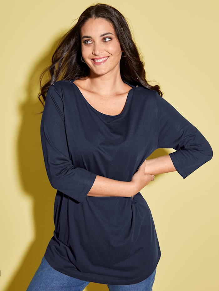 MIAMODA Shirt mit femininem Ausschnitt, Marineblau