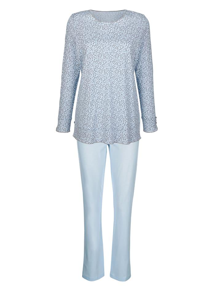 Simone Schlafanzug mit romantischem Spitzeneinsatz entlang der Ärmel, Hellblau/Grau