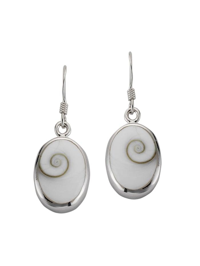 ZEEme Ohrhaken 925/- Sterling Silber Muschel weiß 3,2cm Glänzend 925/- Sterling Silber, weiß