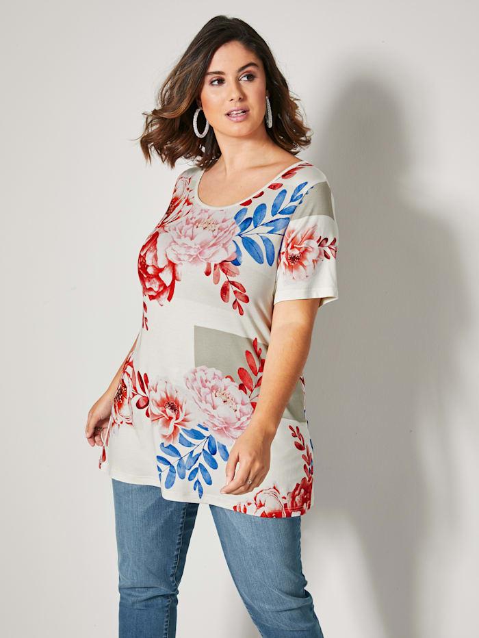 Sara Lindholm Shirt met bloemendessin rondom, Zand/Rood