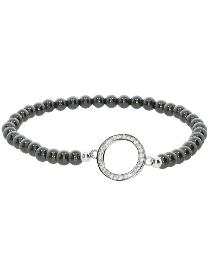 1001 Diamonds Hämatit Armband 925 Silber 17 cm, grau