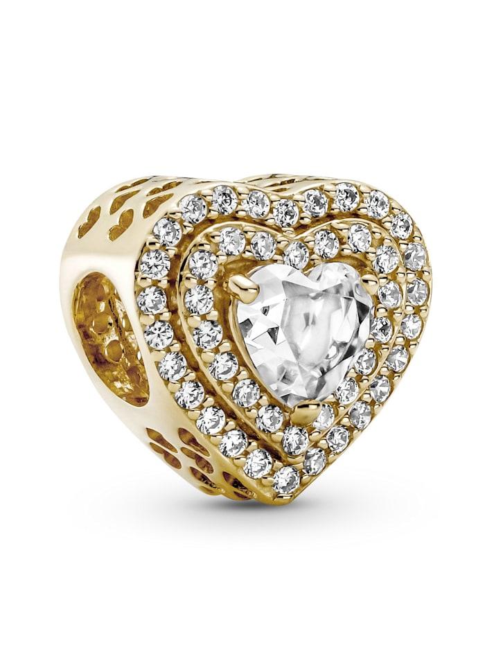 Pandora Charm -Funkelnde mehrstufige Herzen- 14K Gold 759517C01, Gelbgoldfarben
