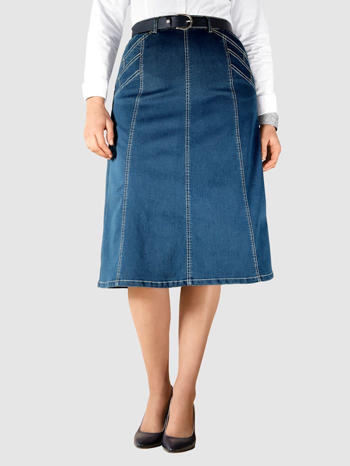 m. collection Jeansskjørt sydd i bredder, Blue stone