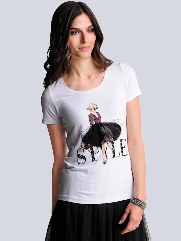 Alba Moda Shirt im exklusiven Dessin von Alba Moda, Weiß/Schwarz/Rot