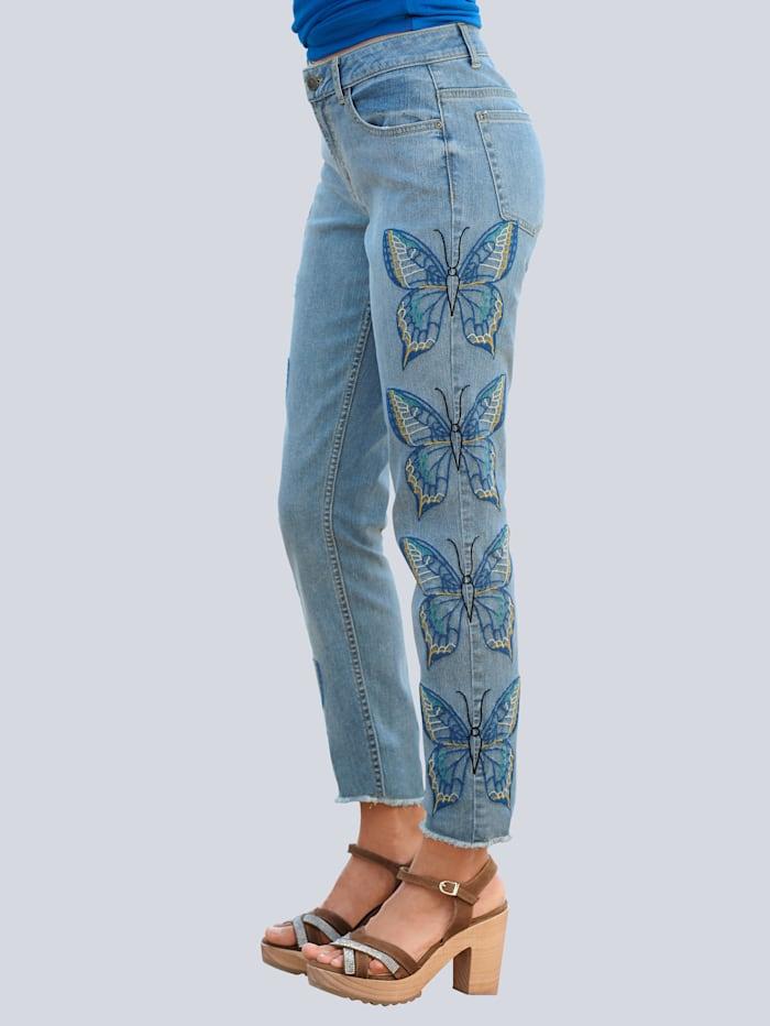 Jeans met vlinderborduursel